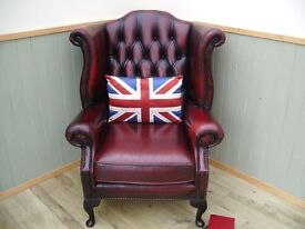 Stunning Leather Oxblood Chesterfield Queen Anne Chair