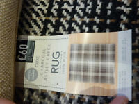 NEXT Charcoal Astley Check 100% Wool Rug 120x170 Brand New