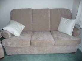 Three Piece Suite in Beige, three seater settee and two armchairs