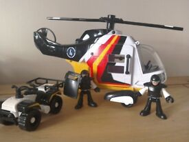 Fisher Price Imaginext? Helicopter + quad bike, 2 characters and a shield. Moving parts