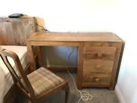 Solid oak dresser table/drawers with chair