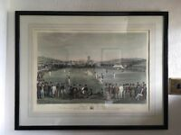 Cricket match at Brighton, framed and signed.