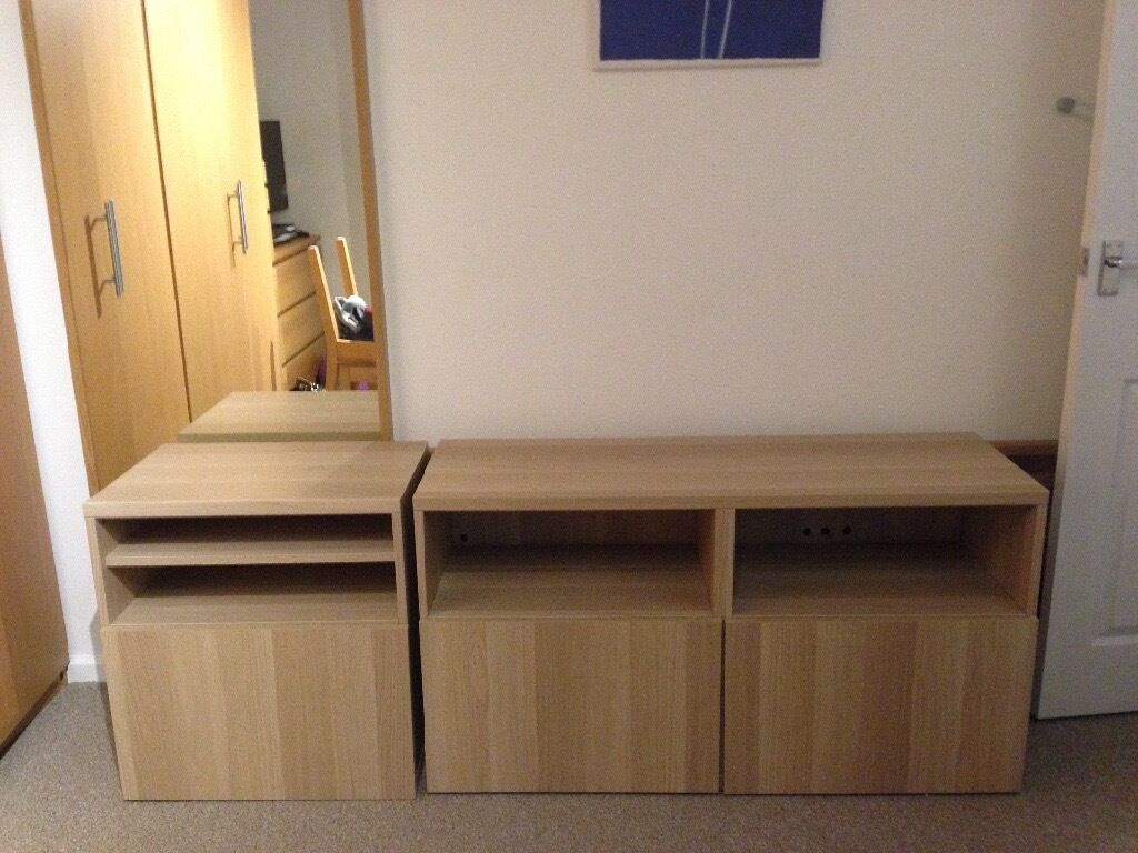 Ikea Besta Units In White Stained Oak, In Good Condition