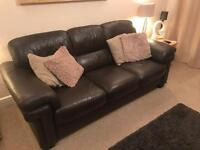 Brown Leather Sofa, 3 Seater, 1 Seater and Footstool