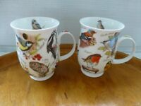 "Pair of Dunoon ""Birdlife"" Jane Fern mugs"