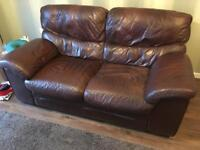 Leekes brown leather 2 seater sofa x 2