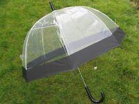 "NEW Ladies 23"" Dome Brolly Umbrella Black Border Design & Black Hook Handle"