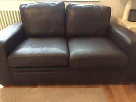 Next 2 seater brown leather sofa
