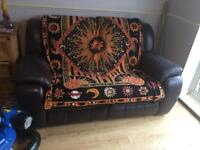 Dark purple double recliner sofa