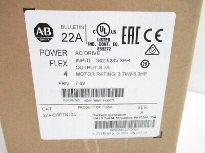 Allen-bradley 22a-d8p7n104 5hpac Drive 480v Ac Free Ship Brand New Sealed Box