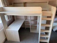 Parisot High Sleeper Children's Loft/Cabin Bed with Desk, Only 12 months old!