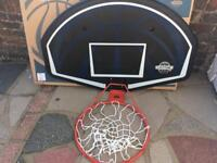 Basketball hoop and backboard fully sized