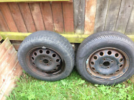 TWO CAR WHEELS AND TYRES SIZE 175/70/R14 ONE BRAND NEW AND ONE PARTLY USED 20.00