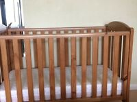Mothercare Cot with mattress upto year 4