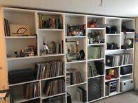 Corian surfaces, bespoke bookcases, vinyl storage, shelving