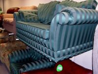 2 Piece Suite in Green and Grey Stripe