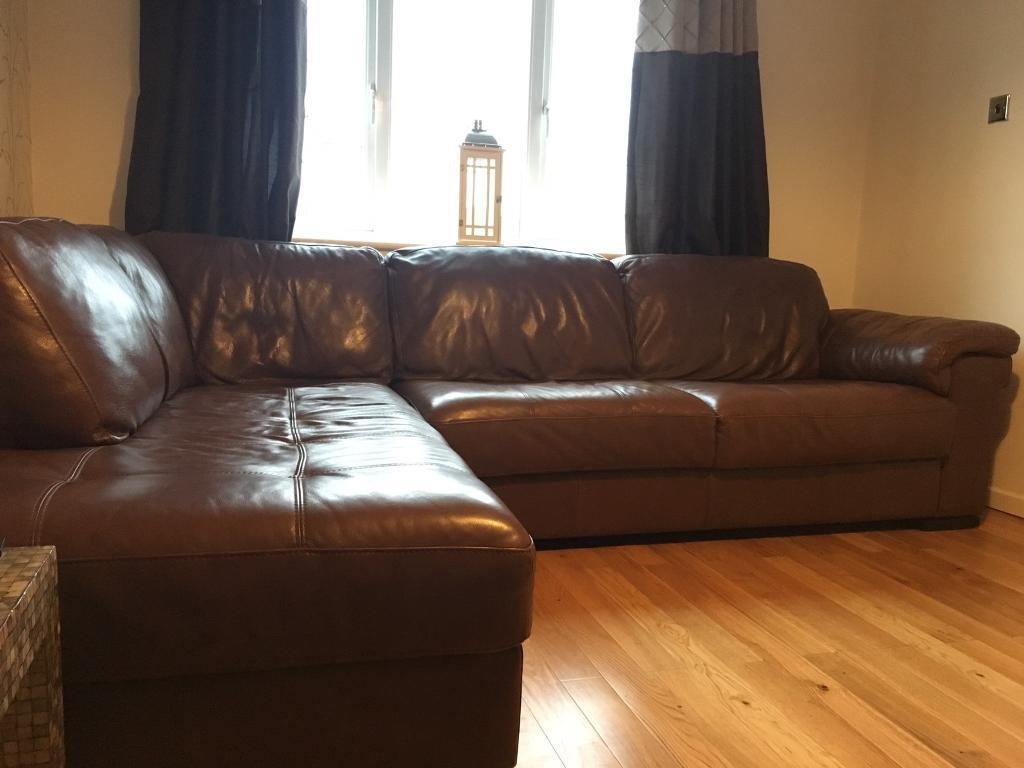 Leekes Violino Brown Leather Corner Sofa And Armchair In