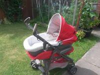 Mamas Papas Pliko P3 pram with an infant carrier and a car seat