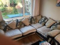 Large Suite Cream & Black corner sofa & matching chair settee