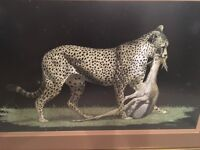 Framed hand metal-etched picture of leopard