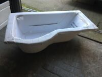 New 1500mm P Shaped Bath with side & end panel, & over the path shower screen.