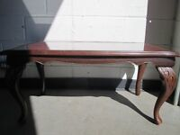 MAHOGANY EFFECT AND RED LEATHER LONG JOHN COFFEE TABLE FREE DELIVERY