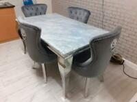 1.5 meter marble table 4 grey plush Lion chairs £899