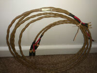 2 METRE PAIR LEIDER PURE SILVER SPEAKER CABLES