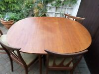 G Plan E Gomme Teak Dining Table & 4 Brazilia Chairs. Nr Croydon