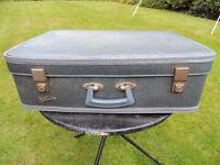 Vintage Retro 1950s/60s Blue Faux Snakeskin Spartan Suitcase