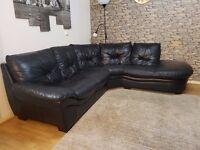Black Leather Corner Sofa Left Arm / DFS