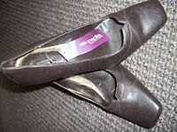 Pair of M & S Chocolate Brown Court Shoes. Size 5 and a half. Never worn.