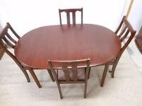mahogany solid wooden 4 seater dining table, and 4 gorgeous ladderback solid wooden chairs