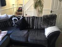 DFS black and grey corner sofa