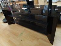 Ex Display Black Glass TV STAND - Large TV STAND - CORNER GLASS UNIT (WAS £199)