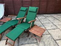 2 new wooden sun loungers chairs RRP 150 each