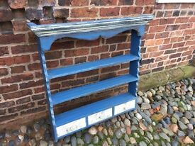 REDUCED - Vintage wall mounted painted shelves with 3 little drawers.