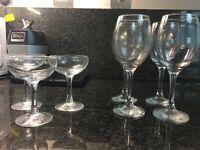 Champagne Saucers & Wine glasses