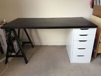 Large desk with drawers and chair