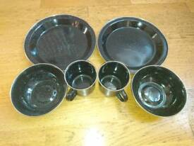 Camping enamel plate, bowl and cup