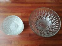 Large glass bowl and small bowls fruit