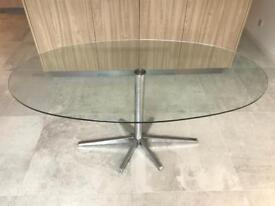 Designer glass dining table with chrome base