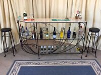 Cocktail Bar & 2 Stools Glass & Wrought Iron Home Bar Drinks Cabinet