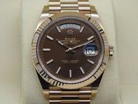 Rolex Day-Date II Rose Gold Chocolate Paved Dial SW2836