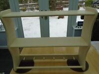 Painted pine shelving & hanging unit.