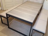 BRAND NEW EX DISPLAY solid dining table with 2x bench seats and cushions ABSOLUTE STUNNING