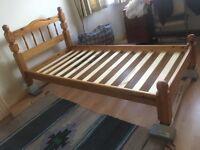 Solid wood single bed frame
