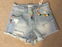 Brand New With Tags Urban Bliss Light Blue Denim Embroidered Pocket Shorts - Size 10
