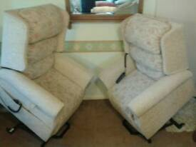 HIS AND HERS MATCHING PAIR OF TWIN MOTOR RISE AND RECLINING CHAIRS