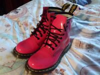 dr marten airwair ladies pink boots uk 3 size once worn only